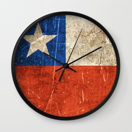 Vintage Aged and Scratched Chilean Flag Wall Clock