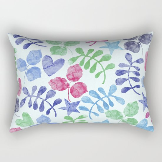 Watercolor Floral Pattern II Rectangular Pillow