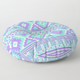 Tribal Art Creation Purple and Mint Floor Pillow