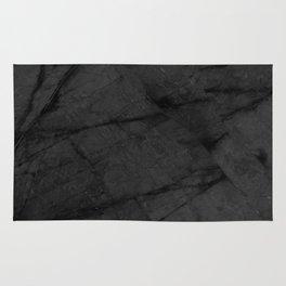 Dark Grey Matte Black Marble Rug