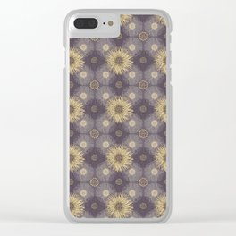 Yellow Sunflower Medley on Purple Clear iPhone Case