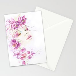 Girl with Flower Crown Watercolor lavender pink peonies Stationery Cards