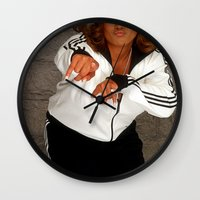 wiz khalifa Wall Clocks featuring Wiz Latifah by 6triangles