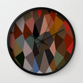 Burnt Umber Abstract Low Polygon Background Wall Clock