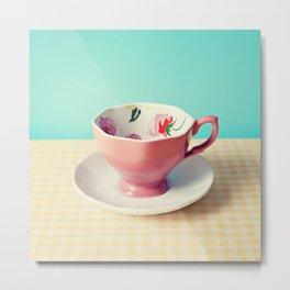 Pink flower cup Metal Print
