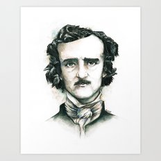 Edgar Allan Poe and Ravens Art Print