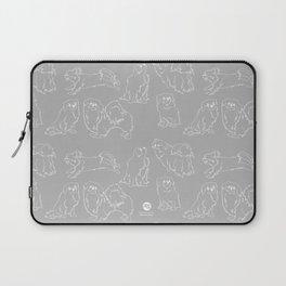 Nordic Chic White Tibbies on Light Grey Minimalist Outline Pattern Laptop Sleeve