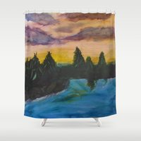 maine Shower Curtains featuring Maine by Lissasdesigns