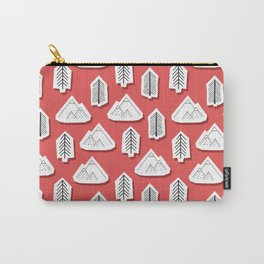 Mountain And Tree Stickers Red Carry-All Pouch