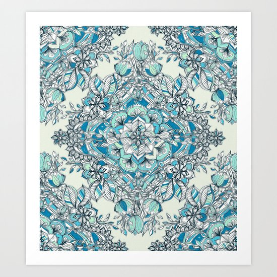 Floral Diamond Doodle in Teal and Turquoise Art Print