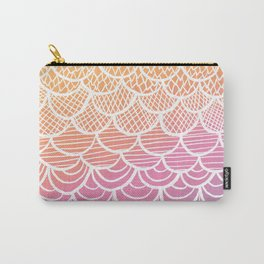Modern hand drawn summer geometric mermaid scallop pink orange ombre watercolor Carry-All Pouch