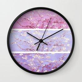 Vincent Van Gogh : Almond Blossoms Lavender Panel Art Wall Clock