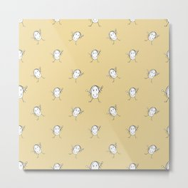 Happy Character Kids Motif Pattern Metal Print