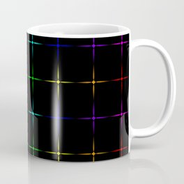 Glowing chaotic transparent neon stars on a neon black background. Coffee Mug