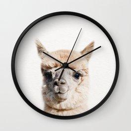 Baby Alpaca, Baby Animals Art Print By Synplus Wall Clock