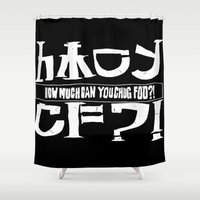 cowboy bebop Shower Curtains featuring Chuggalo Bebop by How Much Can You Chug Foo?!