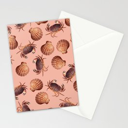 scallop Crab pattern design coral Stationery Cards