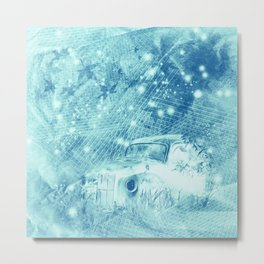 Ghost driver in the moonlight with fireflies and leaves Metal Print