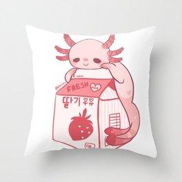 Axolotl Stawberry Milk Throw Pillow