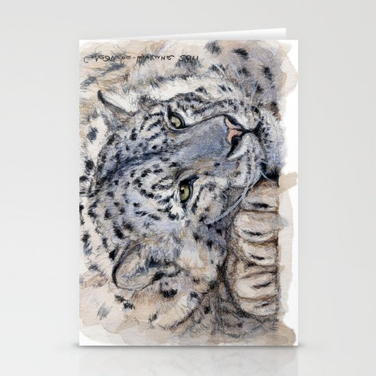 Snow Leopard Resting 778 Stationery Cards