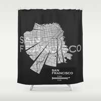 san francisco map Shower Curtains featuring San Francisco Map by Shirt Urbanization