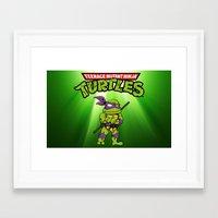ninja turtle Framed Art Prints featuring Ninja Turtle by flydesign