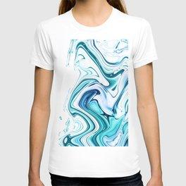 Liquid Marble - aqua & blues T-shirt