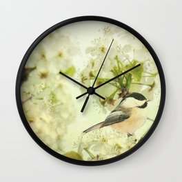 Black Capped Chickadee on Spring Flower A160 Wall Clock