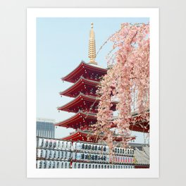 Pink Flowers in Front of Temple (Color) Art Print