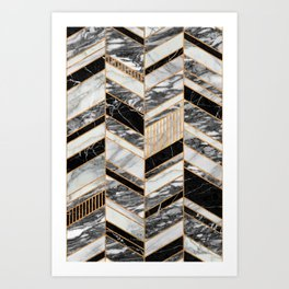 Abstract Chevron Pattern - Black and White Marble Art Print