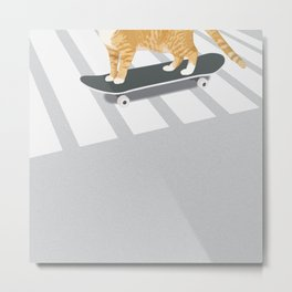 Skateboarding cat Metal Print