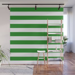 Horizontal Stripes (Forest Green/White) Wall Mural