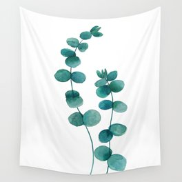 green eucalyptus watercolor Wall Tapestry