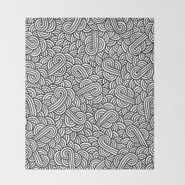 Black and white swirls doodles Throw Blanket