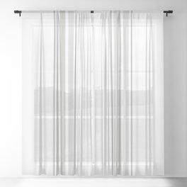 Farmhouse Ticking Stripes in Gray on White Sheer Curtain
