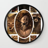cycle Wall Clocks featuring Cycle by Matthew Spencer Illustration