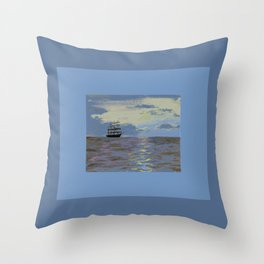 light blue ocean with ship Throw Pillow