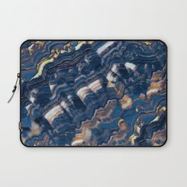 Blue marble with Golden streaks Laptop Sleeve