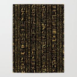 Egyptian hieroglyphs vintage gold on black Poster