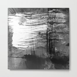 Spectral // black and white abstract ink painting Metal Print