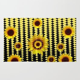 YELLOW SUNFLOWERS BLACK ABSTRACT PATTERNS ART Rug