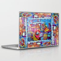 steam punk Laptop & iPad Skins featuring Abstract Steam Punk Music Collage by SharlesArt