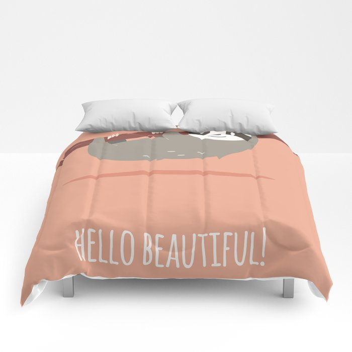 Sloth card - hello beautiful Comforters