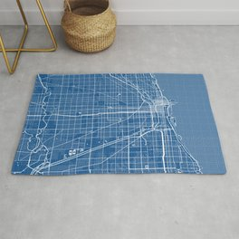 Chicago City Map of the United States - Blueprint Rug