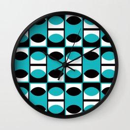 Geometric Pattern 133 (turquoise lens) Wall Clock