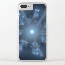 Fractal 29 blue star Clear iPhone Case
