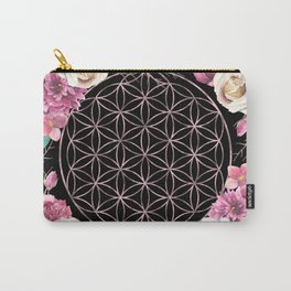 Flower of Life Rose Gold Garden on Black Carry-All Pouch