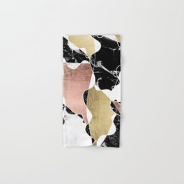 Modern white black marble rose gold foil color block handdrawn geometric lines Hand & Bath Towel