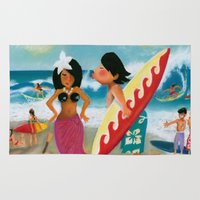 surfer Area & Throw Rugs featuring Surfer by colortown
