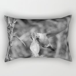 Hummingbird and the Flower- Black and White Rectangular Pillow